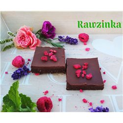Raw brownies s malinami